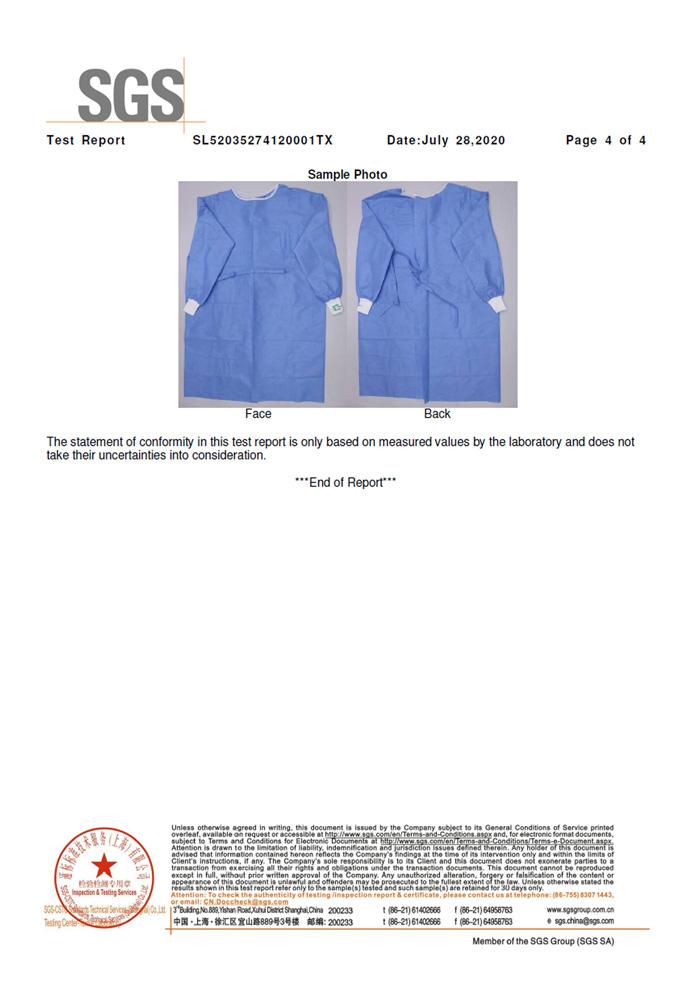SGS AAMI PB70 手术衣2级检测报告4